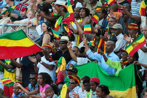 Ethiopian fans celebrate Tirunesh Dibaba's world 5000m record in Oslo (Getty Images)