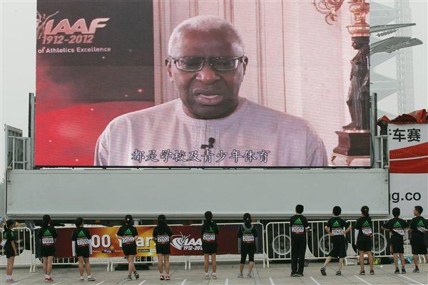 Video Message from IAAF President Lamine Diack played at the '100 Kids - 100 metres - 100 years' event in Beijing Olympic Park to celebrate the year of the IAAF Centenary (Getty Images)