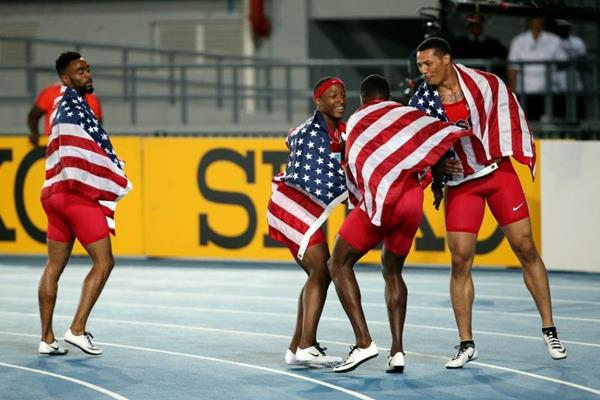 USA team after winning the 4x100m at the IAAF/BTC World Relays, Bahamas 2015 (Getty Images)