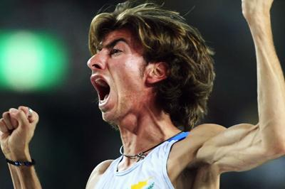 Kyriakos Ioannou of Cyprus celebrates clearing a jump in the Men's High Jump Final (Bongarts/Getty Images)