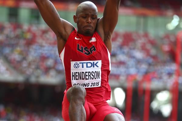 Jeff Henderson in long jump qualifying at the IAAF World Championships, Beijing 2015 (Getty Images)