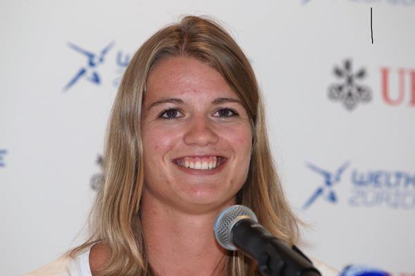 Dafne Schippers ahead of the 2014 IAAF Diamond League meeting in Zurich (Jean-Pierre Durand)