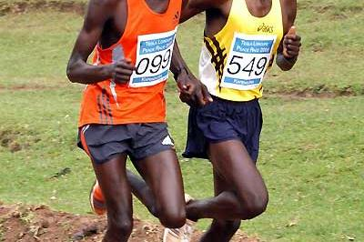 Levy Matebo (right) and Wilson Kipsang battle it out during the Tegla Loroupe Peace Race in Makutano township (David Macharia)