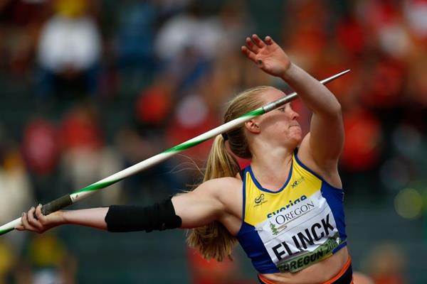Swedish javelin thrower Sofi Flink at the 2014 IAAF World Junior Championships in Eugene (Getty Images)