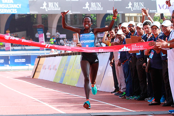 Peres Jepchirchir wins the TCS World 10K in Bengaluru (TCS World 10K Organisers)