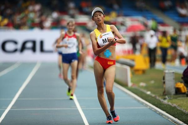 Ma Zhenxia wining the girls' 5000m race walk at the IAAF World Youth Championships, Cali 2015 (Getty Images)