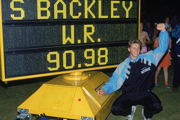 Steve Backley after breaking the javelin world record at Crystal Palace (Getty Images)