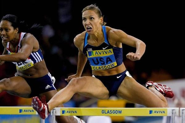 Lolo Jones cruises to a 7.95 win in Glasgow (Getty Images)