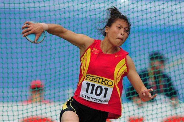 Silver medal winner Yan LIANG of China in action during the Girls Discus final - Day Four - WYC Lille 2011 (Getty Images)