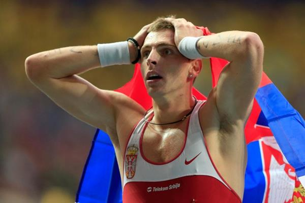 Emir Bekric in the mens 400m Hurdles at the AAF World Athletics Championships Moscow 2013 (Getty Images)
