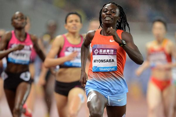 Francine Niyonsaba sprints away from the field to win the 800m at the Shanghai Diamond League (Jiro Mochizuki)