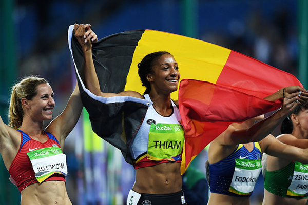 Nafi Thiam on her lap of honour in Rio (Getty Images)