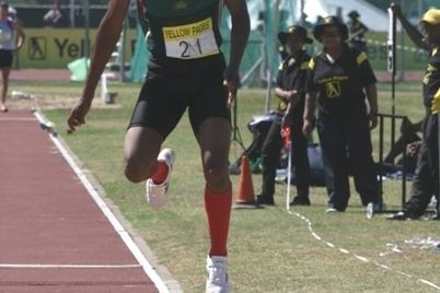 Tumelo Thagane on the way to the 17m club in the triple jump at the South African championships (Mark Ouma)