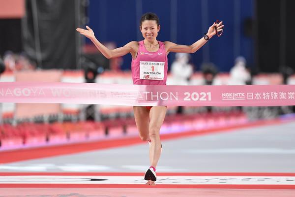 Mizuki Matsuda wins the 2021 Nagoya Women's Marathon (Takuma Ito for Agence SHOT)