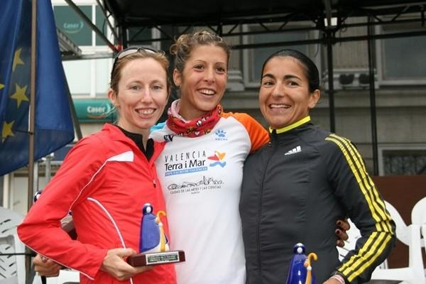 La Coruña women's podium, from left: Olive Loughnane of Ireland, Spain's Beatriz Pascual, and Vera Santos of Portugal (Luis Francisco Gómez Fiaño)