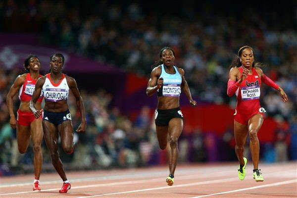 (L-R) Christine Ohuruogu of Great Britain, Amantle Montsho of Botswana and Sanya Richards-Ross of the United States compete in the Women's 400m Final on Day 9 of the London Olympic Games on 5 August 2012 (Getty Images)