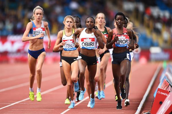 Agnes Tirop and Hellen Obiri lead the 3000m at the IAAF Diamond League meeting in Birmingham (Getty Images)