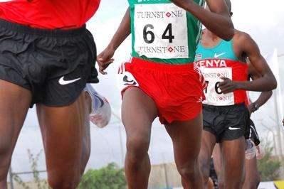 Ethiopian Abera Kuma Lema en route to the African junior 5000m title (Clyde Koa Wing)