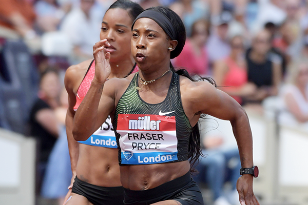 Shelly-Ann Fraser-Pryce on her way to winning the 100m at the IAAF Diamond League meeting in London (Kirby Lee)