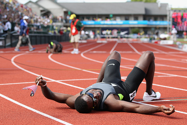 Kerron Clement after the 400m hurdles at the 2012 US Olympic Trials (Getty Images)