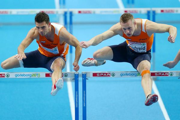 Eelco Sintnicolaas (left), winner of the Heptathlon at the European Indoor Championships (Getty Images)