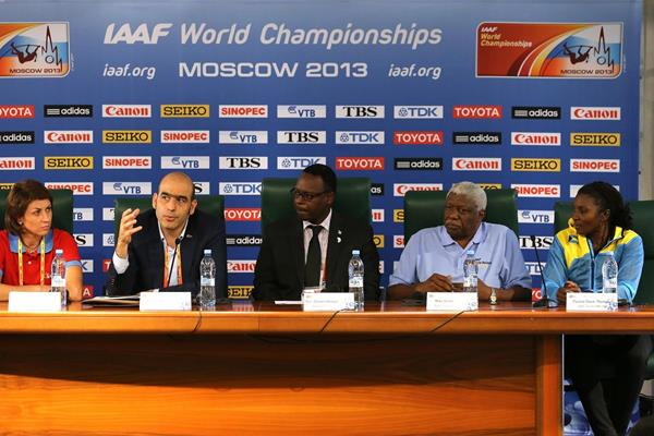 The IAAF Ambassadors Press Conference: Tatyana Lebedeva, Esser Gabriel and the Bahamas delegation (Getty Images)