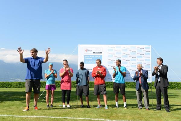 Werner Gunthor, Anita Weyermann, Sandra Perkovic, Bershawn Jackson, Andreas Thorkildsen, Christian Taylor, Malek El Habil and Chris Johnson at the IAAF / Nestlé Kids' Athletics demonstration in Vevey, Switzerland (Jiro Mochizuki)