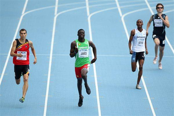 Kirani James of Grenada in action in the opening round of the men's 400m (Getty Images)