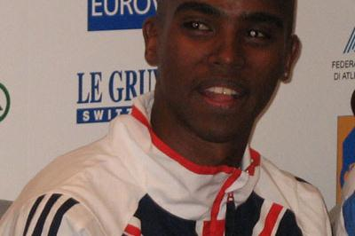 Mo Farah (GBR) at the EAA press conference in San Giorgio su Legnano (Bob Ramsak)