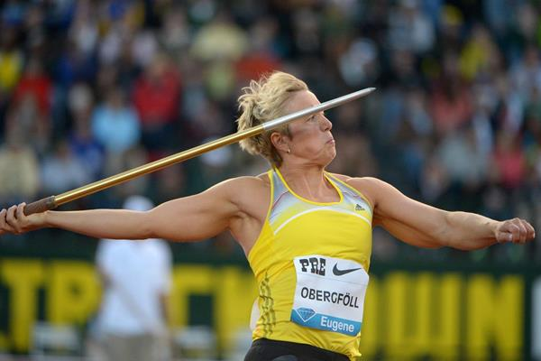 Cristina Obergfoll at the 2013 IAAF Diamond League meeting in Eugene (Kirby Lee)