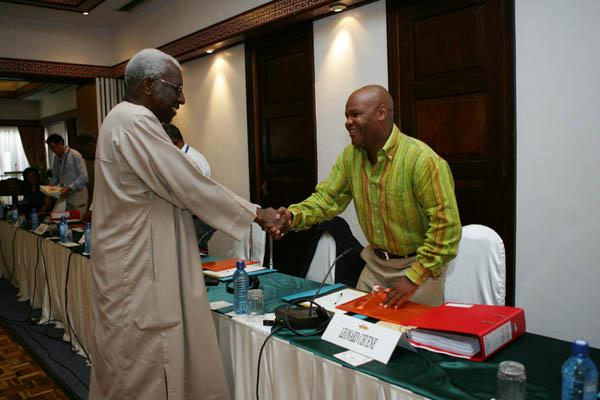 President Lamine Diack (SEN) greets Leonard Chuene (RSA)  - IAAF Council meeting, Mombasa, Day 1 (Getty Images)