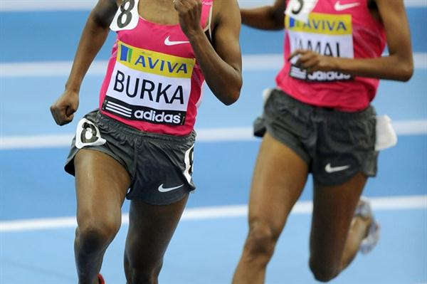 Gelete Burka on the way to a solid victory in the Mile in Birmingham (Getty Images)