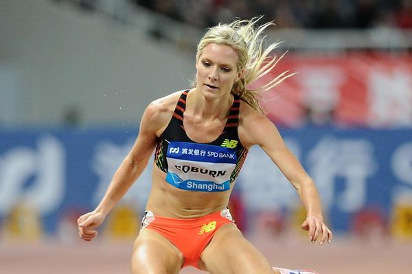 Emma Coburn wins the 3000m steeplechase at the 2014 IAAF Diamond League meeting in Shanghai (Errol Anderson)