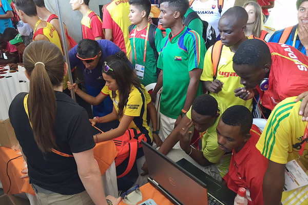 The IAAF's outreach stand at the IAAF World Youth Championships, Cali 2015 (IAAF)