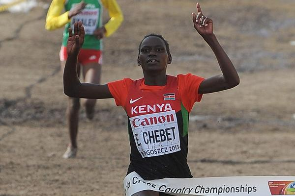 Emily Chebet of Kenya wins the senior women's race at the  IAAF World Cross Country Championships, Bydgoszcz, Poland, on Sunday 24 March (Getty Images)