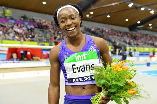 Gayon Evans after winning the 60m at the IAAF World Indoor Tour meeting in Karlsruhe (Jiro Mochizuki)