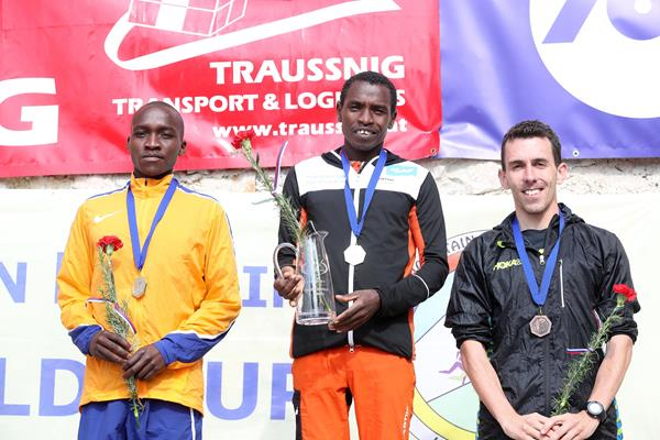 Men's 2016 Smarna Gora podium - runner-up Victor Kiplangat, winner Petro Mamu and third place finisher Andrew Douglas (Smarna Gora organisers)