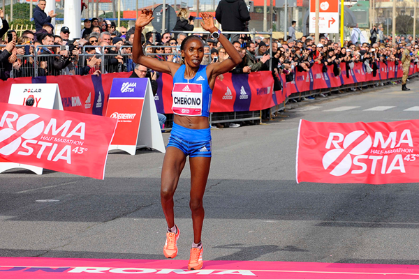 Gladys Cherono wins the Rome-Ostia Half Marathon (Organisers)