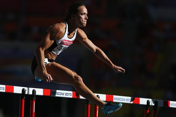 Jessica Zelinka of Canada in action in the 100m hurdles (Getty Images)