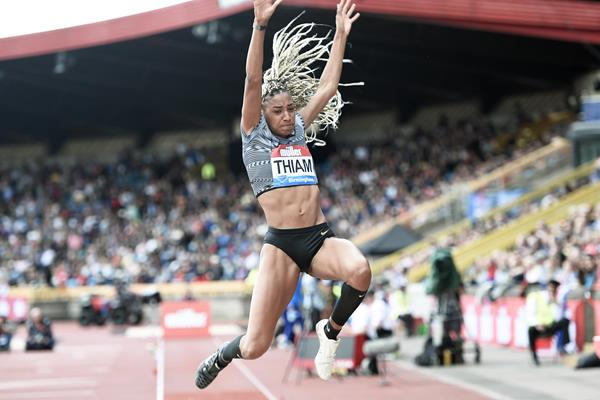 Nafi Thiam sails to a Belgian long jump record at the IAAF Diamond League meeting in Birmingham (Mark Shearman)