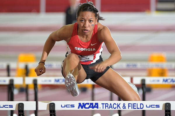 Kendell Williams in action at the NCAA Indoor Championships (Kirby Lee)