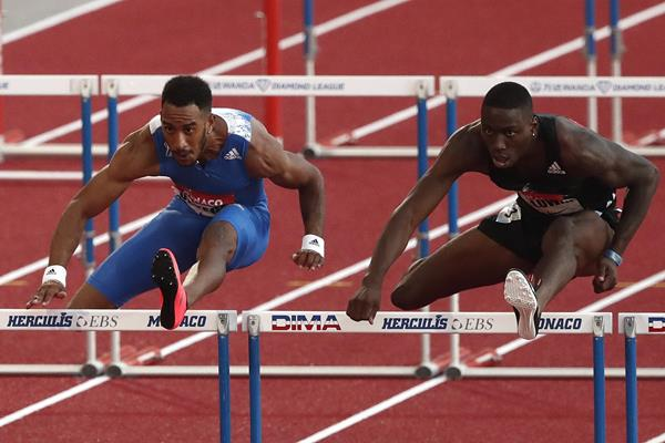 Orlando Ortega and Grant Holloway in action in the sprint hurdles (Getty Images)