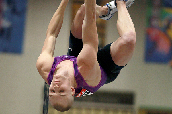 Sam Kendricks, winner of the pole vault at the New Balance Indoor Grand Prix in Boston (Andrew McClanahan)
