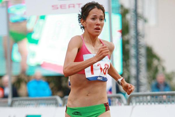 Monica Equihua on her way to 20km victory in Podebrady (Jan Kucharčík for atletika.cz)