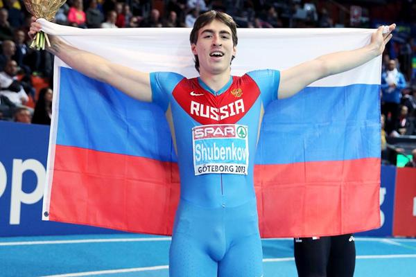 ... Sergey Shubenkov celebrates his 60m Hurdles victory at the European  Indoor Championships (Getty Images) be766fc67f92a