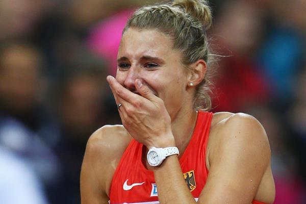 Germany's Carolin Schafer after the heptathlon 800m (Getty Images)