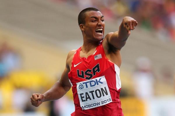 Ashton Eaton in the mens Decathlon 400m at the IAAF World Athletics Championships Moscow 2013 (Getty Images)