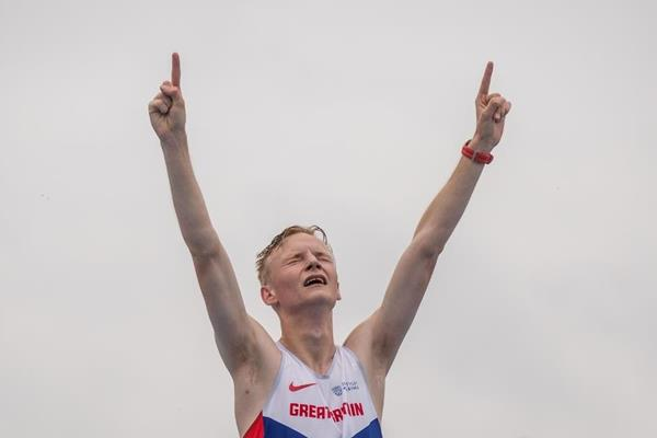 Callum Wilkinson after winning the 10,000m race walk at the IAAF World U20 Championships Bydgoszcz 2016 (Getty Images)