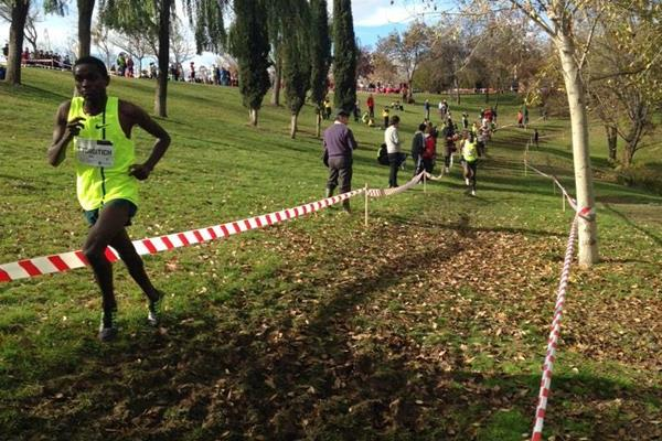 Timothy Toroitich leads the senior men's race at the Cross Internacional de la Constitucion in Alcobendas (Fundacion ANOC)