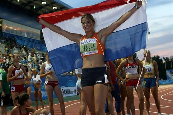 A triumphant Dafne Schippers at the end of the Heptathlon in Moncton (Getty Images)